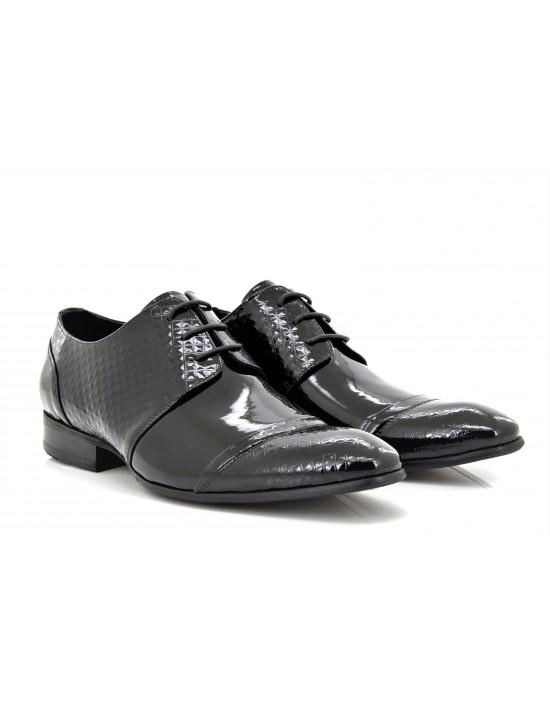 Mens Leather Designer Black Diamond Print Patent Formal Shoes