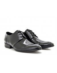ShuCentre Exclusive Design Italian Made 3 Eyelet Lace Up Formal Patent Leather Shoes