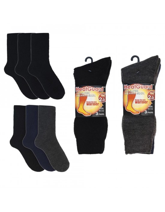 Mens 3 Pack 2.0 Tog HeatGuard Extra Padded Thermal Warm Socks