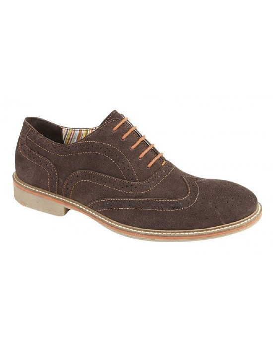 Roamers Real Suede Oxford Brogue Lace Up Shoes