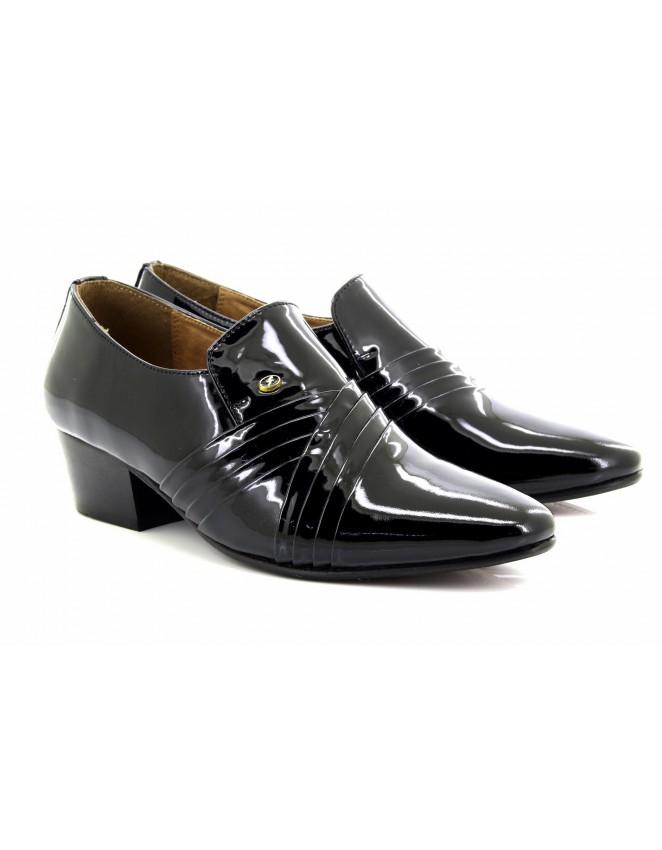 e040fec56ca Mens Lucini Black Patent Cross Pleated Leather Slip On Cuban Heel Shoe