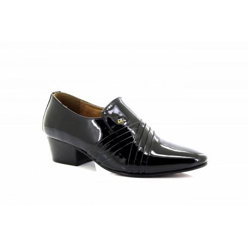 Lucini Pour Homme Noir Patent Cross Pleated Cuir Slip On Talon Cubain Chaussures