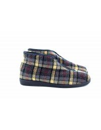 Sleepers JED II Classic Front Zip Checked Thermal Bootee Slippers