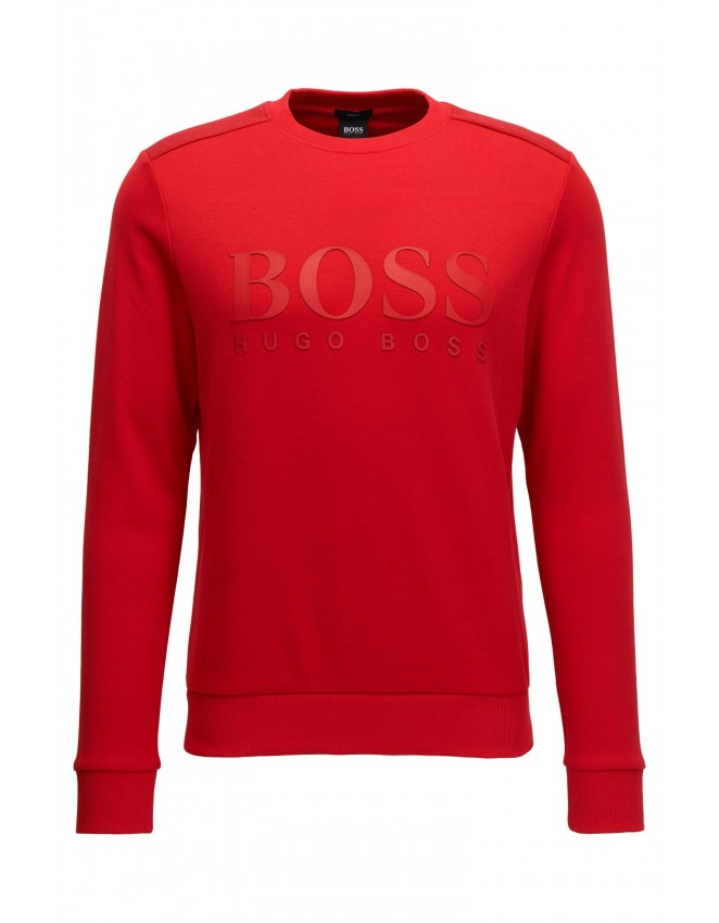 Hugo Boss Salbo Cotton Blend Sweater With Two Tone Logo Red Mens