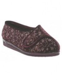 Comfylux Helen LS467 Superwide Touch Fasten Velour Slippers