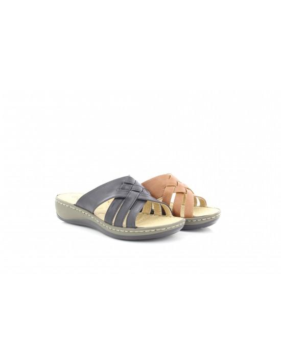 Cherag Ladies Slip On Cross Over Wedge Padded Mule Sandals
