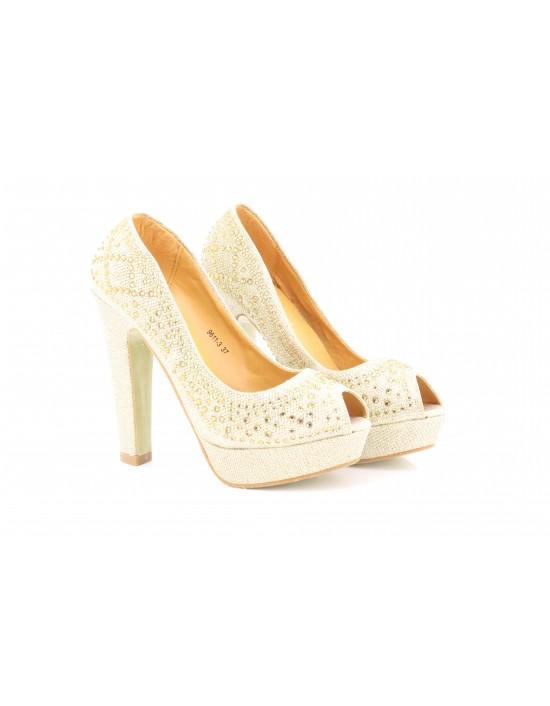 a18fe48d91d Gorgeous Gold Diamonds Platform Wedding Evening Prom Shoes High Heel 13cm  Open Toe