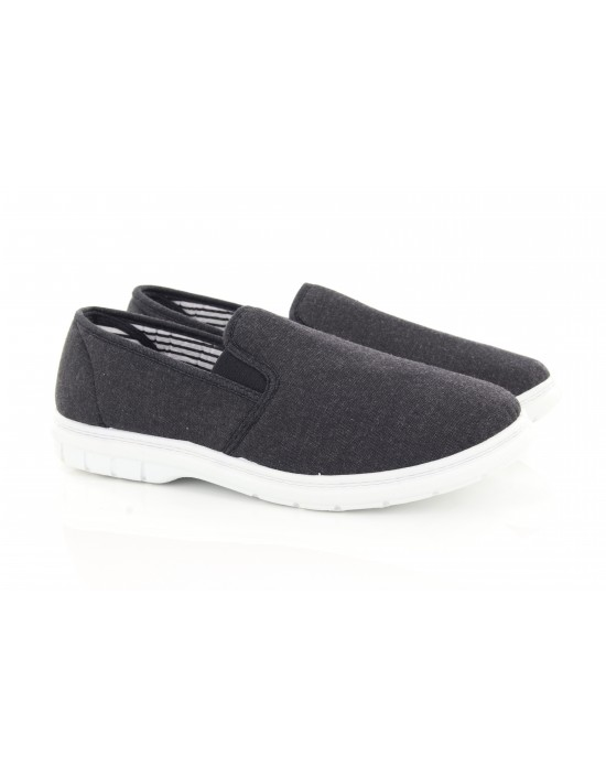 Mens Brett Charcoal Soft Slip On Stripe Canvas Shoes