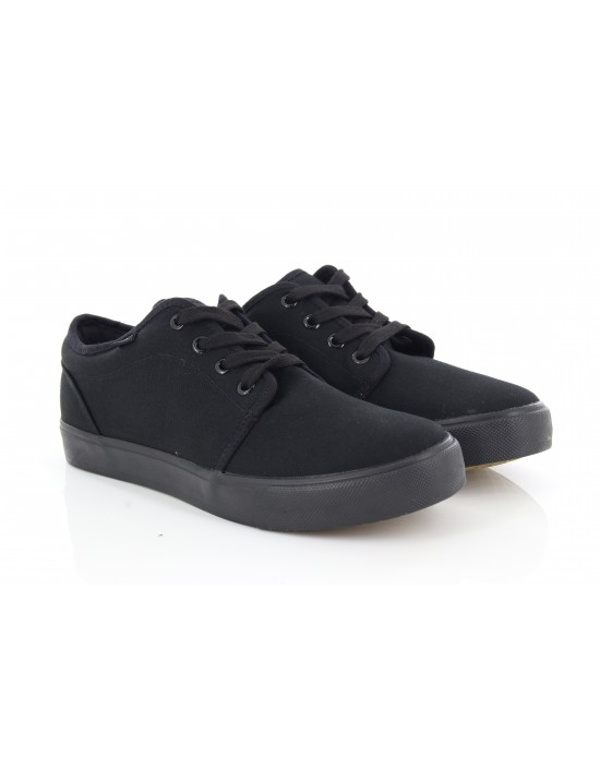 Dek Ted All Black 4 Eye Deck Lace Up Canvas Summer Shoes