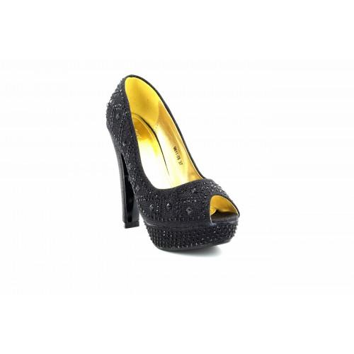 Gorgeous Black Diamante Platform Wedding Evening Shoes High Heel 11cm Open Toe