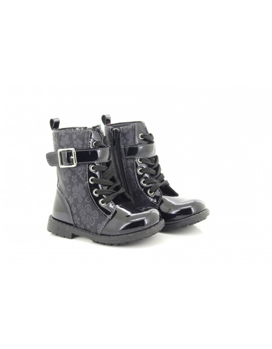ChatterBox Rae Patent And Flower Black Side Zip Lace Up Ankle Boots