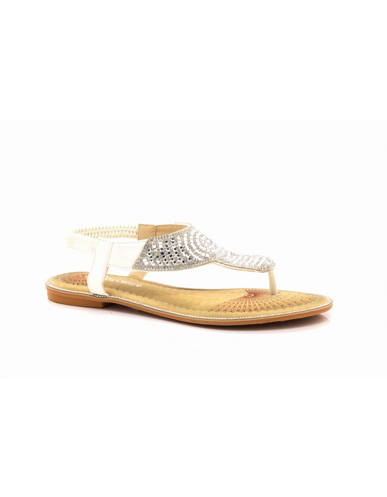 012d636a805f ShuCentre Diamante Elasticated Sling Back Toe Post Summer Flat Sandals