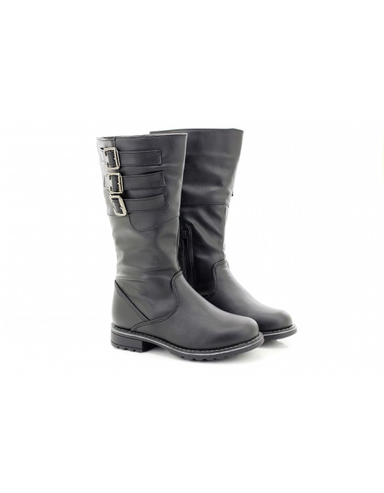 Girls Sasha Black High Buckle Winter School Boots