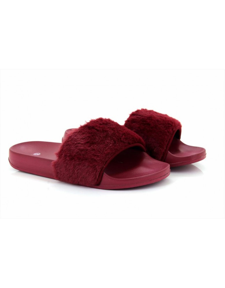 91f983ab5 Ladies Womens Slip On Fur Flats Sandals Flip Flops Ladies Shoes Sliders  Size New