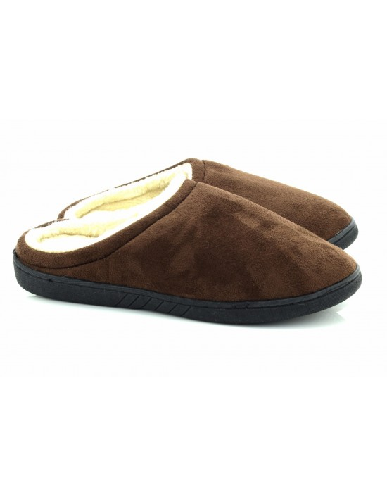 Mens Warm Brown Soft Suede Fleece Slip On Mule Slippers