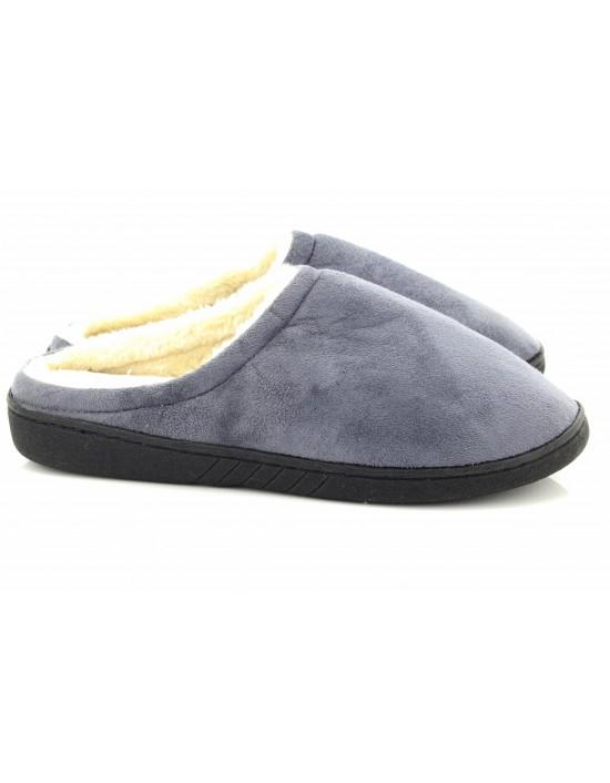 Mens Warm Grey Soft Suede Fleece Slip On Mule Slippers