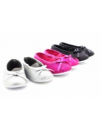 Girls Glittery Bow Elasticated Shoes