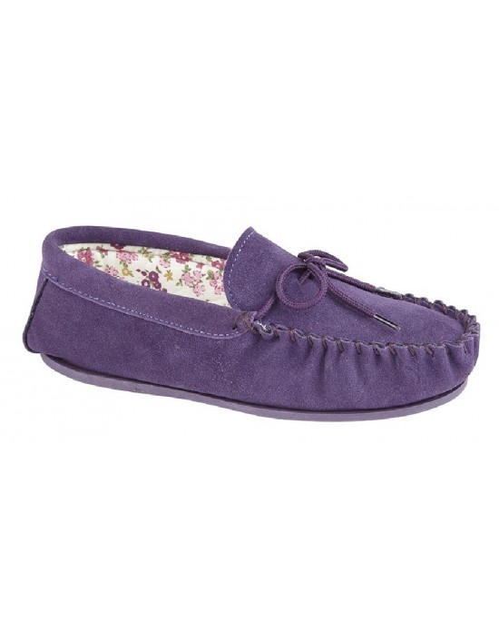 Ladies Mokkers Lily Real Suede Moccasin Floral Lined Slippers