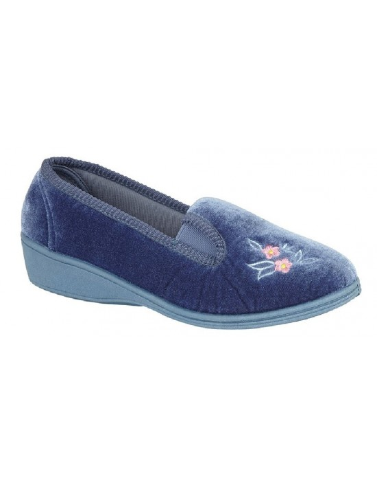 Ladies Dunlop Gina II Soft Velour Full Gusset Slippers