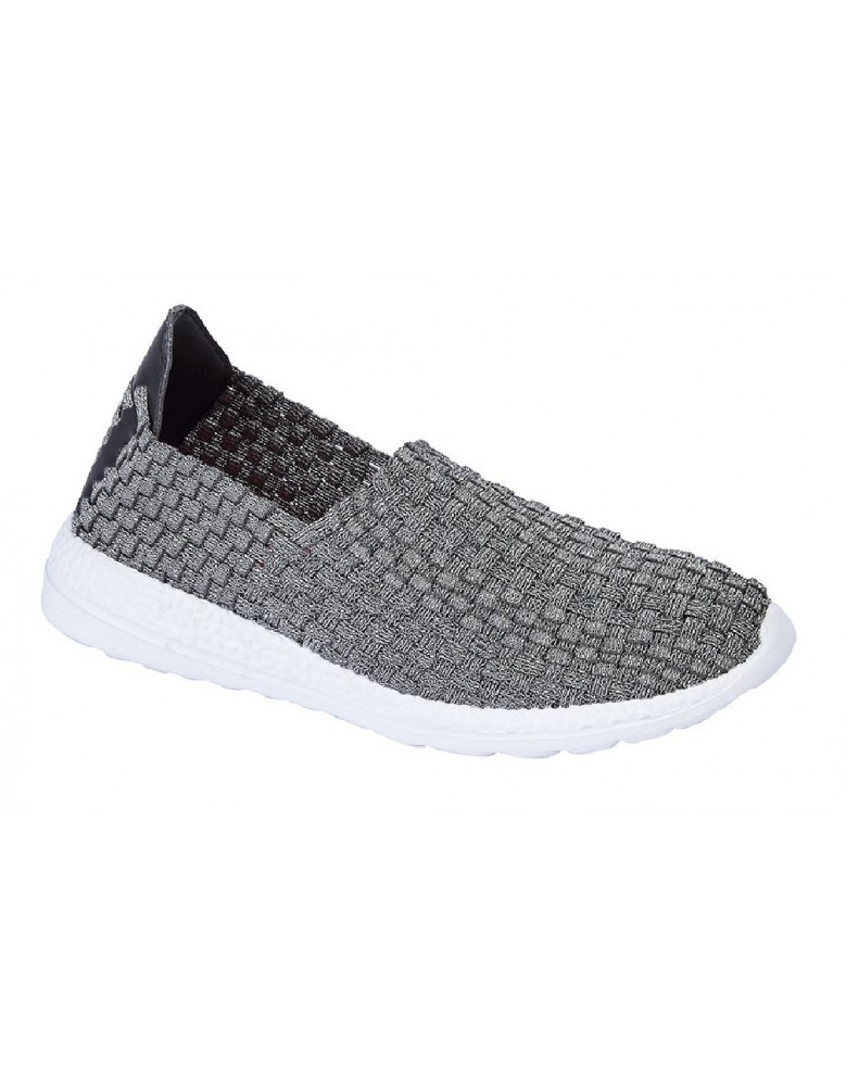 2ed3258b49 ... Anna Casual Lightweight Memory Foamed Elasticated Weave Slip-Ons. ladies -summer-canvas-dek-textile