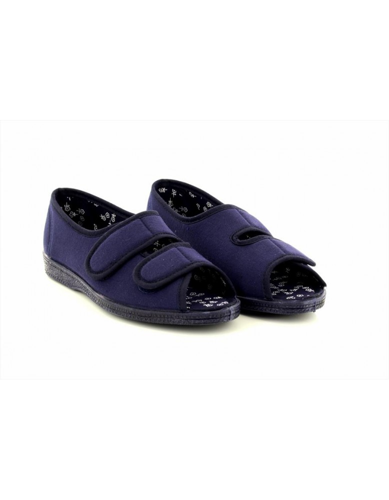 Ladies Sleepers L862 Twin Touch Fastening Peep Toe Casual Cotton Shoes