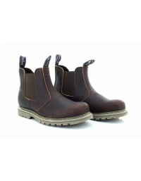 Woodland M858 Dark Brown Tumbled Leather Gusset Chelsea Boots