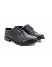 Mens Roamers Black Softie Leather Fuller Fitting Capped Oxford Shoes
