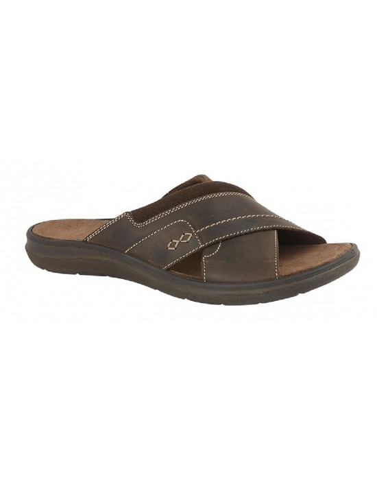 Mens Imac M114 Brown Waxy Leather Suede Summer Crossover Mule Sandals