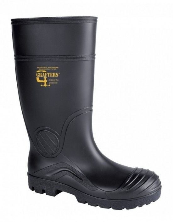 Grafters W408 Mens Safety Full Length Wellington Boots