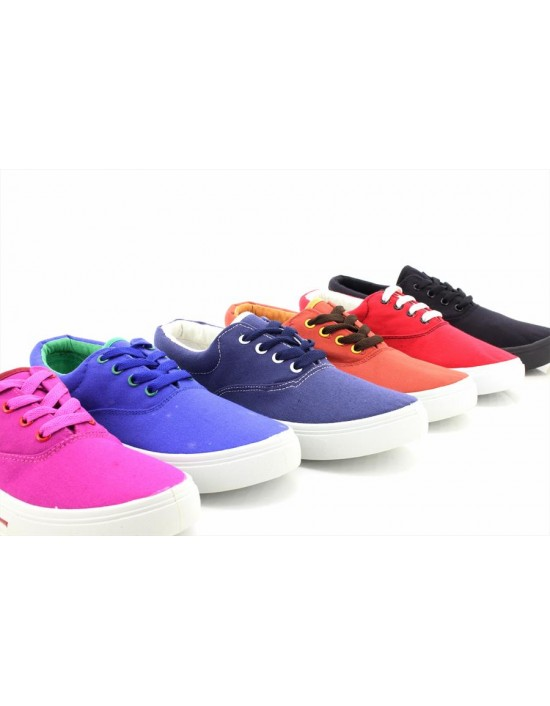 Unisex Flat Lace Up Canvas Plimsolls Deck Boat Shoes Trainers Summer