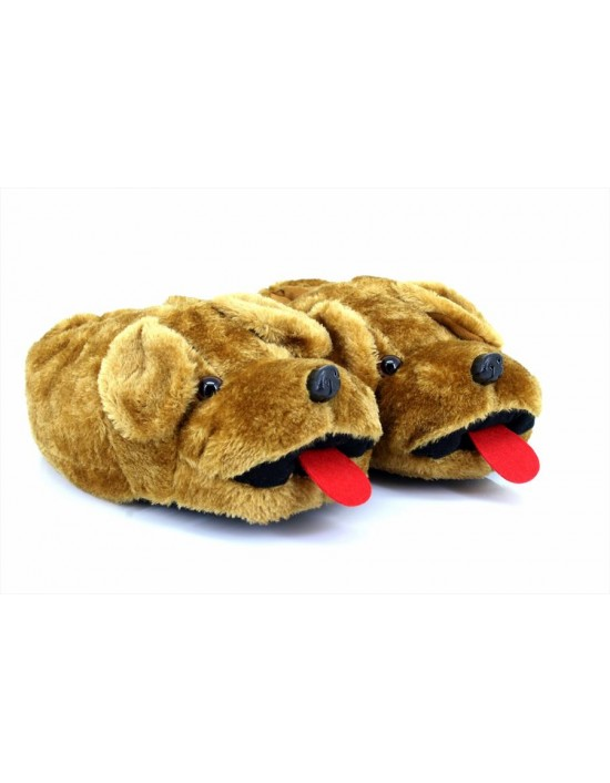 New Novelty Tan Dog Indoor Slipers Gift Adult